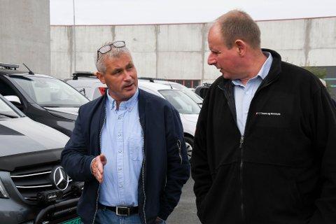STÅR SAMMEN: Disse to står sammen om at arbeidet på Nussir må komme i gang: Varaordfører Terje Wikstrøm (til venstre) i Hammerfest og LO-leder Bjørn Johansen i Troms og Finnmark.