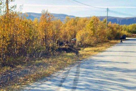 SPOR PÅ VEIEN: Bilen ser ut til å ha hatt skrens før den endte opp mellom noen trær.