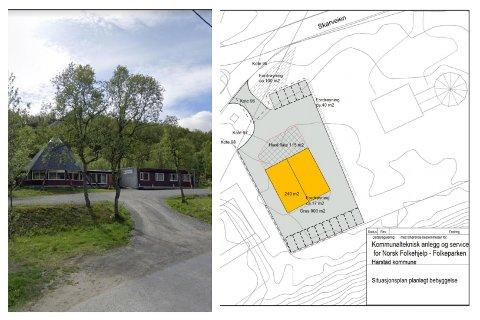 SAMME TOMT: Turlagshuset (til høyre) planlegges utbygget. På samme tomten skal også Norsk Folkehjelp få et eget servicehus.