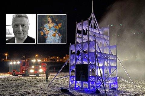 STRØK NUMMER TO: Harstad Brannvesen er samarbeidspartner på prosjektet og sprøyter her på det andre vannlaget for å gjøre iseffekten på stavkirka enda mer dramatisk..