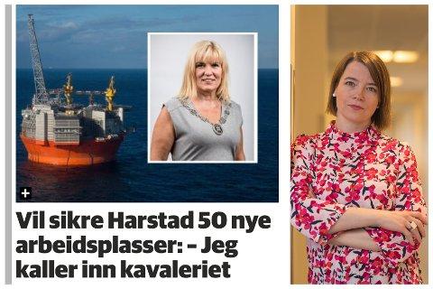 ABSURD: – Det eneste jeg kan være enig med ordføreren i, er at teknologien og kunnskapen vi har skaffet oss gjennom næringa er verdifull og skal hjelpe oss videre i det grønne skiftet, sier MDG-nestleder Kriss Rokkan Iversen i Harstad.