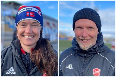 SNART SERIESTART: Trenerne Margunn Haugenes og Roy Berntsen er klar for sesongstart andre pinsedag. Medkilas seriekamper ser du kun hos iHarstad. Men allerede lørdag 15. mai var det generalprøve mot Fløya. Også den kampen viste vi.