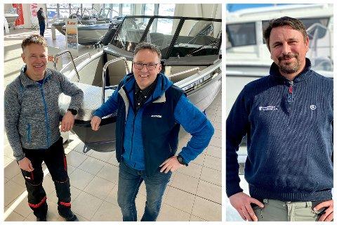 EKSPLOSJON I BÅTSALGET: Hos Biltrend på Stangnesbasen har Jan Eirik Gabrielsen (til venstre) og Jim Madsen aldri opplevd lignende etterspørsel. Harstad Marinas medeier Mats Johansen (til høyre) sier brukte båter selges før de blir lagt på Finn.no.