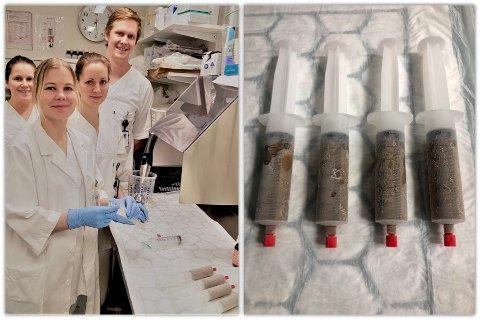 FORSKNINGSGRUPPA: Marthe Rasmus (studiesykepleier), Peter Holger Johnsen (forsker), Hege Marie Hanssen (stipendiat) og Linn Skjevling (stipendiat) ved UNN Harstad. Til høyre ser du implantater klare til transplantering.