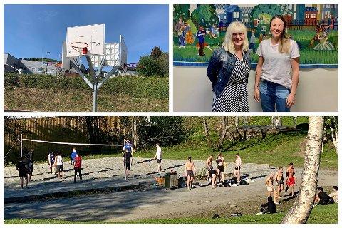 BØR SHINES OPP: Ordfører Kari-Anne Opsal og Eli Jeanette Olsen i park- og idrettsseksjonen i Harstad kommune er enig med ungdommen som ønsker å være i aktivitet ute om at forholdene kan bli bedre både her og der.