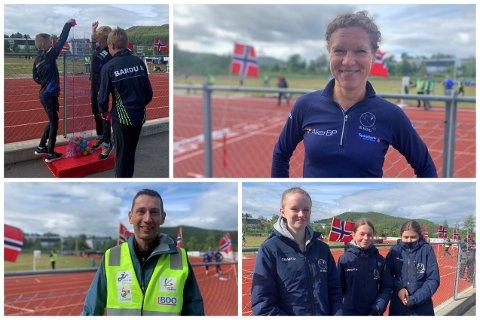 Noen av menneskene på friidrettsbanen lørdag formiddag.