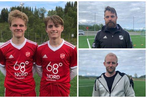 UNGE SPILLERE: Mathias Dinesen (t.v) og Wulff Røvik Hunstad (t.h) er 14 år og spiller for medkilas A-lag. Øverst er Karl Brun og nederst er Mikal Kristensen.