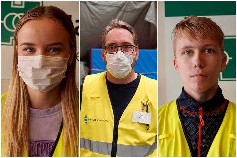STAB: Marie Alette Stenhaug, Stian Simonsen og Tobias Indregaard Lilleng er blant staben som hjelper til under vaksineringen av Harstads befolkning i Harstadhallen.