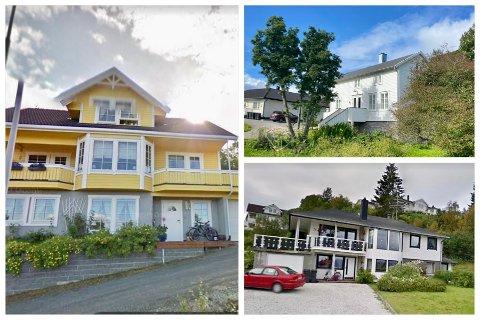 KJØP OG SALG: Otersteinveien 10 (venstre), Hagebyveien 7 (oppe til høyre) og Rorhusveien 24 (nede til høyre) var blant eiendommene som ble omsatt i Harstad i juli.
