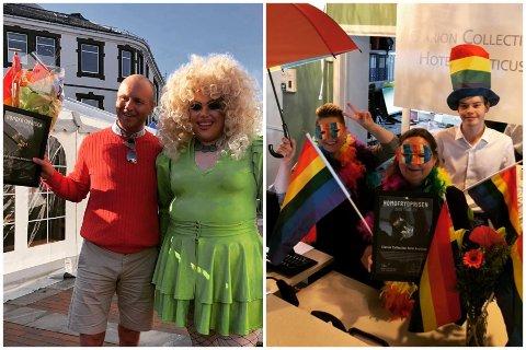 STOLT: Hotelldirektør Benny Jakobsen (t.v) mottar Homofrydprisen 2020 under lørdagens Pride park. Her med drag queen Monetta Leone. Til høyre markerer hotellets ansatte årets festival.