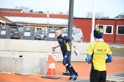 MOT MÅL: Ludvig Langøygard fra Frol IL på siste post i TA-sprinten ved Frol barneskole torsdag.