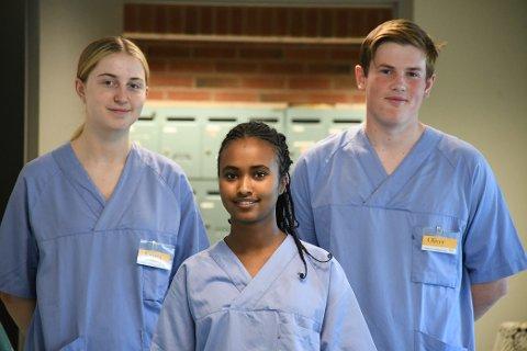 LBAS: Emma Olafsen Aunet (18), Kisanet Mahari (17) og Oliver Tronhus (17) har sommerjobb som miljøarbeidere ved Levanger Bo- og aktivitetssenter.
