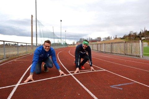 FRIIDRETT: Vegard Denstadli og Erlend Gudding er i startgropa for oppstart av friidrettstilbud for 1. - 7. - klassinger i Inderøy.