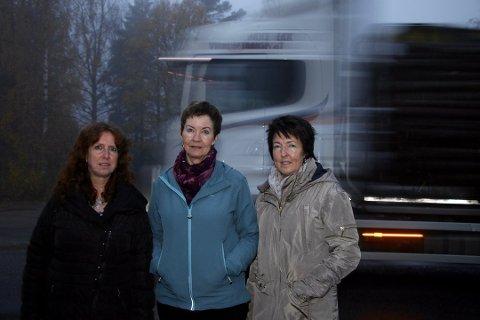 FARLIG: - Vi syns ikke det er forsvarlig at barna venter på skolebussen så nær veien som er sterkt trafikkert i rushtida, sier Elisabeth Ruud, Ragnhild Oppegaard og Jane Albertsen. Foto: Torill Funderud