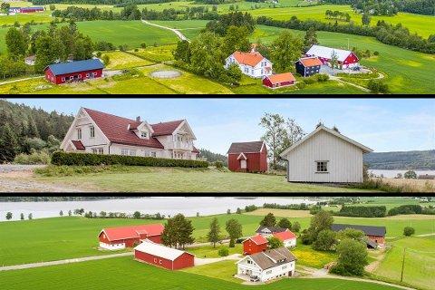 Disse tre gårdene er til salgs i Søndre Høland.