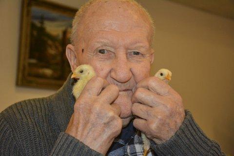 GLAD: Olaf Bjørnstad har blitt glad i kyllingene Hans og Grete som kvikker opp hverdagen for de eldre ved Aurskog sykehjem.
