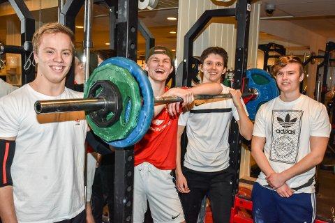 Denne kvartetten trener jevnt og trutt, også i jula. Fra venstre: Sander Vandås (17), Eirik Kongtorp (18), Martin Frogner (18)  og Martin Bratberg (17).