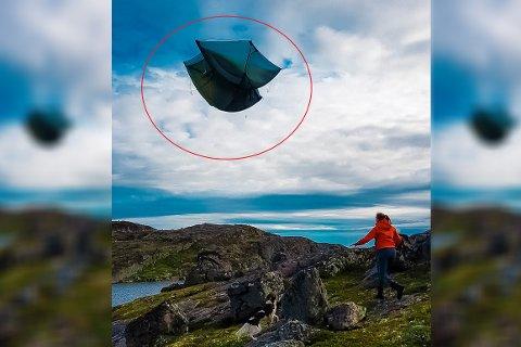 VIND: Det ble en dyr lærepenge å ikke holde fast i teltet når vinden tok tak på Øretoppen. Alt går ikke alltid etter planen på tur.