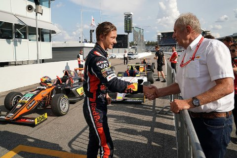 Dennis Hauger #62 Van Amersfoort Racing, poses with Dr. Marko during the third round of the ADAC Formula 4 Championschip at the Hockenheimring on July  26–28, 2019. // Dutch Photo Agency/Red Bull Content Pool // AP-2131GTNGS2511 // Usage for editorial use only // Please go to www.redbullcontentpool.com for further information. //