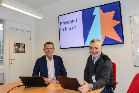 SATSER: 600 nye husstander skal få bredbåndsdekning i Lillestrøm kommune, sier digitaliseringsdirektør Torbjørn Pedersen (t.v.) og prosjektleder Steinar Sire i Lillestrøm kommune.