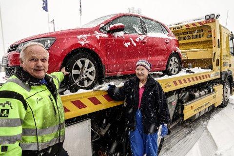 GIKK BRA: Da det ble stopp i snøen ringte Arnhild Henriksen etter bilberger Jan Smdestuen.
