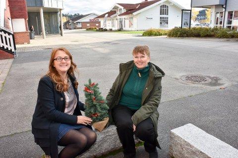 Nathaly Santana Galvez (t.v.) og Anne Havnås fra Bjørkelangen Næringsforening utgjør arrangementskomiteen til årets julemarked på Bjørkelangen.