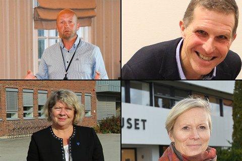 SØKERE: Dette er fire av de som har søkt jobben som rådmann i Nordre Follo. Med klokken, fra venste: Tom-Arne Trøfoss, Sigmund Vister, Inger Hegna og Jane Short Aurlien.