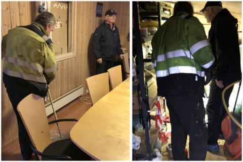 SJEKKER SKADENE: Styreleder Carl-Inge Ullereng og nestformann Terje Skurdal sjekket mandag ettermidddag skadene etter innbruddsraidet.