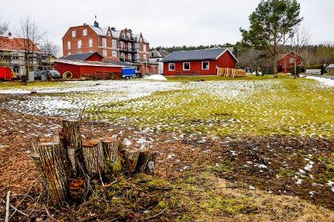 Den aktuelle tomten ligger bare et steinkast fra Storgata i Ørje, rett bak Murgården og Tollergården (i bakgrunnen til venstre), som er under oppussing.