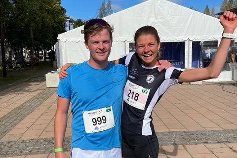 TAKK, BRUTTER'N: Maren Lie imponerte i årets Birkebeinerløp, der hun ble nummer fire i eliteklassen. Hun gir bror Henrik, som her gratulerer henne etter innsatsen og seier i 25-29-årsklassen, æren. Henrik er nemlig treneren hennes.