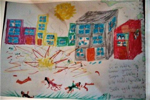 I en av tegningene som ble en del av en utstilling, beskriver Sonya hvordan hun opplever å bo i Kabul. Hun mistet lenge evnen til å snakke, og uttrykte seg mye gjennom tegning.
