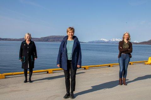 UNDERVISERE: Else Marie Lid, Jorunn Hov og Hildegunn Høberg Vetti skal alle utdanne sykepleiere i Sandnessjøen til høsten. Her er de avbildet på kaiet i byen.