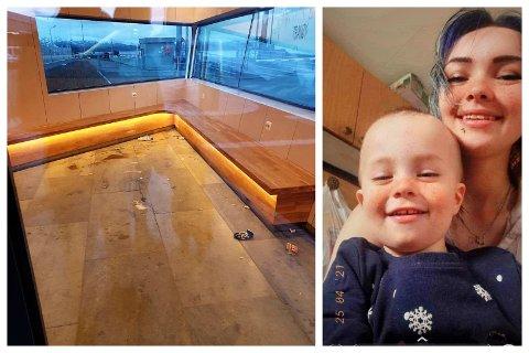 Sonja Buschhorn og sønnen Kristian Dirk Buschhorn (3) valgte å vente ute i kulden, framfor å sitte inne på venterommet på kaia som nok en gang har blitt utsatt for hærverk.