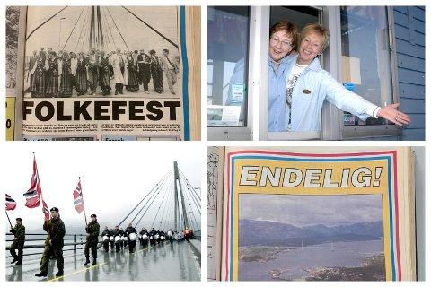 30-ÅRINGEN: 13. juli 2021 er Helgelandsbrua blitt 30 år gammel. Her illustrert ved avisutklipp fra åpningsdagen, samt glimt fra da bomstasjonen ble fjernet i 2005.