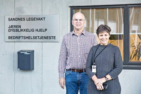 VENTAR PÅ SVAR: Birger Vårdal, assisterande kommuneoverlege i Sandnes, og legevaktsjef Gudrun Riska Thorsen ventar på ei avklaring frå Klepp og Time om framtidig legevaktsamarbeid.