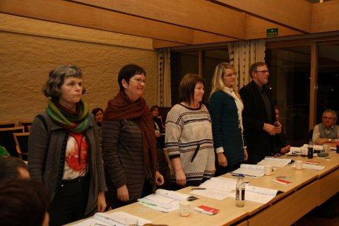 Frå venstre: Inger Tjåland, Wenche L. Paulsen, Unni Sirevåg Lende, Randi Bjørkhaug og Sverre Risa.