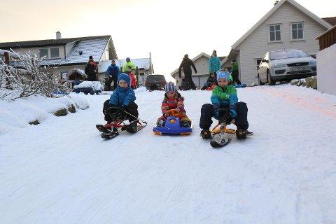 KAPPLØP: -Snø er gildt, slår denne gjengen fast. Frå venstre: Theodor Rosland, Malin Aase Rosland og Sander Kyllingstad.