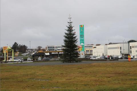 FLYTTA: Julegrana i Klepp står i år på sentrumstomta mellom rådhuset og Jærhagen. Ordførar Ane Mari Braut Nese tenner juletrelysa sundag ettermiddag.