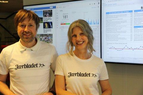 AUKE: Jærbladet aukar i opplag. Det gler redaksjonssjef Øyvind Ulland Sandsmark og redaktør Kirsten M. Myklebust.
