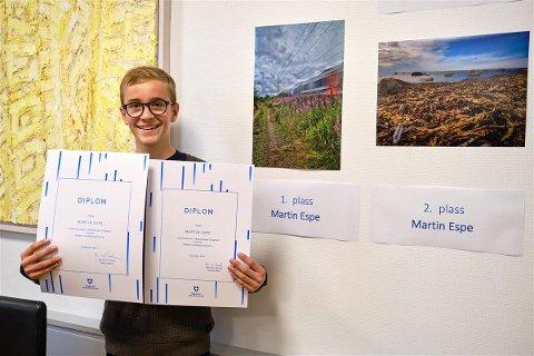 TO PRISER: Martin Espe (14) fra Nærbø leverte to bilder til en fotokonkurranse og fikk både første- og andreplassen.