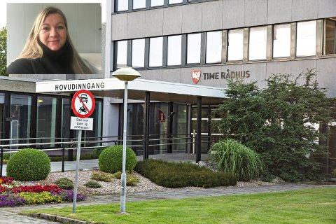 HJELPETELEFON: Time kommune, med koordinator for tverrfagleg arbeid, Ragnhild Hobberstad, i spissen, har oppretta ein hjelpetelefon.
