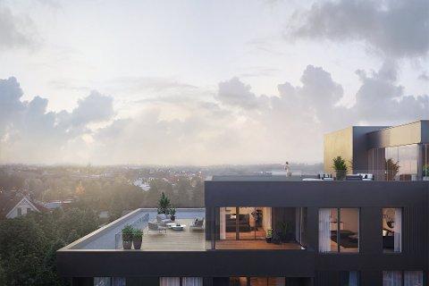 Leiligheten som nå er solgt i Vesterhagen, har takterrasse på hele 140 kvadratmeter.