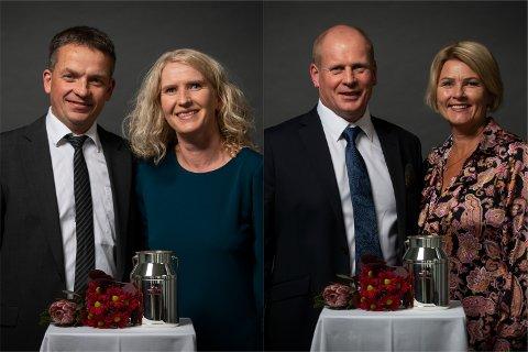 Gunhild og Eivind Prestegård, Bryne, og Marianne og Tjerand Rimestad, Nærbø, har fått heider og ære for 25 samanhengande år med elitemjølk.