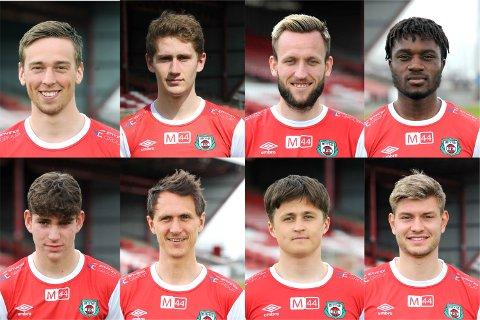Øverst fra venstre: Torben Dvergsdal, Petter Øfsteng, Josh Robson, Thierry Dabove, Daniel Karlsbakk, Henning Romslo, Herman Rugland og Kristoffer Hay er alle på utgående kontrakt.