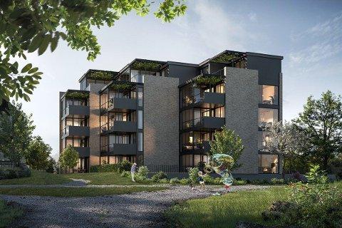 GRØNN LUNGE: Arbeidet med de første av tre boligblokker i Kleppelunden er i gang, og denne vil stå ferdig til sommeren 2022.