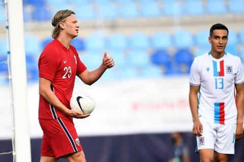 Erling Braut Haaland ble matchvinner i landskampen mot Luxembourg onsdag kveld.
