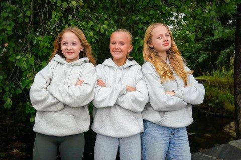 """SPENTE: Wilde Rolfsen Østebø (13), Tuva Alme (13) og Evelina Halseth (12), ble plukket ut til å være med på NRK Super sitt nye program """"Jakten"""". De gleder seg stort til å se episoden i november."""
