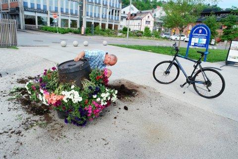 Ramponering av blomster på brygga. Bjarne Mathisen passerer og blir fortvilet. - Tore (driftsleder, red.anm.) går og ordner med disse blomstene som om det var hans egne barn. Dette er en skam, mener han.