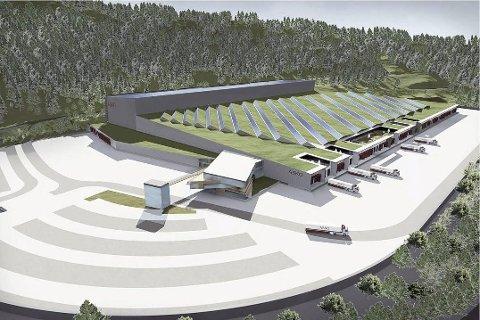 Stort: Det er ikke småtteri når grossistgiganten Asko etablerer nytt lager. Slik kan det se ut i Hanekleiva i 2012. Illustrasjon: Asko