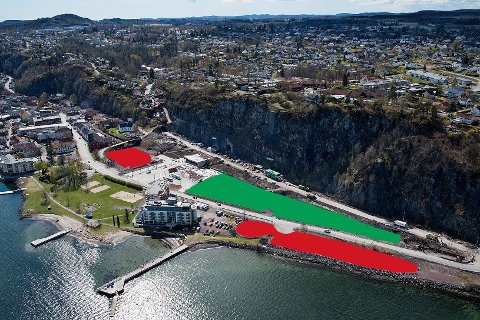 NY OG BEDRE: Den nye parkeringsplassen (grønt) tilbyr flere parkeringsplasser enn Verkstedtomta og Sjøtomta (rødt) gjorde til sammen.